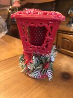 Vintage Christmas Camplighter Red Glass Votive Candle Holder Figure Holly