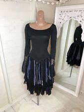 Handmade Black Ballroom Dress Mesh Polka Dot Ribbons Stretchy (UK 6-10)