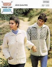 Adult Aran Jacket Size 81-107cm 32-42in Lister Lee 1723 Vintage Knitting Pattern