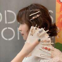 3PCS Women Pearl Hair Clip Hairband Comb Bobby Pin Barrette Hairpin Headdress