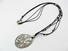 Sterling Silver Silpada Scroll Openwork Pendant Agate Cord Necklace 11.63g.#6833