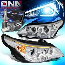 FOR 2004-2007 BMW 525I 3D LED U-HALO HEADLIGHT LAMP W/LED KIT+COOL FAN CHROME