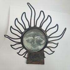 BRUTALIST MCM RUSTED WORN METAL SUN FACE ART CANDLE HOLDER GLASS SCULPTURE