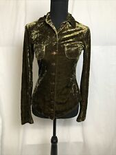 Betsey Johnson Womens Green Crushed Velvet Collared Button Front Blouse Size S