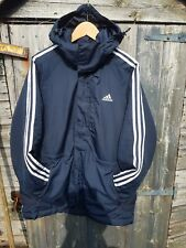 *ADIDAS Navy Padded Jacket Size XL 25 PTP REMOVABLE HOOD IMACULATE CONDITION*