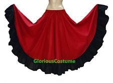 Red & Black Cotton Gypsy Flamenco Skirt 12 Yard Belly Dance Tribal Ethnic Boho