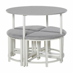 Modern Dining Furniture Set Round Wooden Table Stools Chairs Space Saving Grey