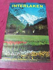 Original vintage poster INTERLAKEN BERNESE OBERLAND LAKE c.1960