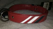 Double Leather Designer Dog Collar Bobby France. Red semi reflective detail 55cm