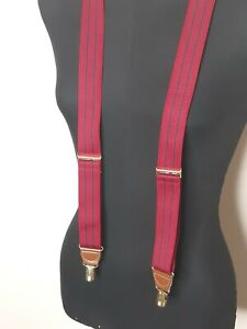 CAS GERMANY Red With Navy Blue Stripes Men's Suspenders Brass Clip Ons
