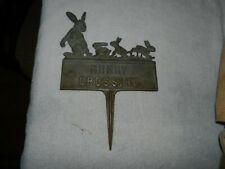 Vintage Bunny Crossing Sign Copper Garden Sign