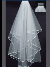 Ivory Bridal Wedding Veil 2 Tiers Elbow Length Ribbon Edge with Comb