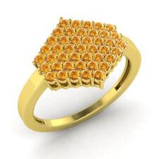 0.86Ct Round Cut Gemstone Citrine Engagement Ring 14K Solid Yellow Gold I J K