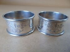 More details for pretty pair antique sterling silver flowers napkin rings 1925