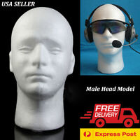 "11"" White Male Styrofoam Foam Mannequin Manikin Head Wig Display Hat Glasses USA"