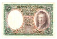 Billete Rep Española 25 Peseta 1931 sin serie (Vicente López) circulado  Ref.603