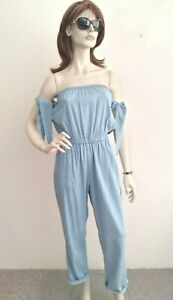 NWT MP/D Mink Pink *Slow Waves Jumpsuit* Blue Bamboo/Cotton Size~10 RRP~$99.95