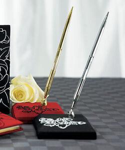 Silhouettes in Bloom Black Base Silver-tone Wedding Pen Set