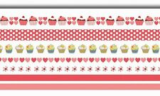 LOT RUBAN ROSE ROUGE CUPCAKES PAILLETÉ AUTOCOLLANT ADHÉSIF SCRAPBOOKING SCRAP