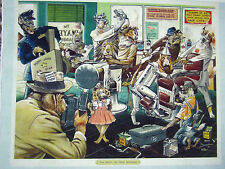 """Rare Vintage Barbershop Dogs Litho Color Sign WIZARD OF OZ """"DRESS REHEARSAL"""""""