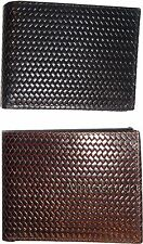 3 New Man's bi-fold Leather Wallet Credit debit card ID Change purse 2 billfold
