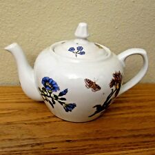 Hand Painted Cordon Blue Spring Tea Pot/Spring Floral and Butterfly