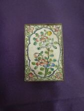 Antique Chinese Enamel Matchbox Cover Flowers Floral Hand Painted Brass