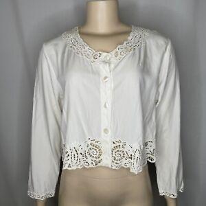 Vintage April Cornell M Cottagecore Lace Top MOP Buttons Rayon Prairie L/S