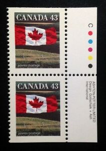 Canada #1359as +Tab AP CP MNH, Flag Over Field Booklet Pair of Stamps 1992