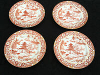 Royal Worcester Temple tea plate x 4 plates pagoda red gold white chinoiserie