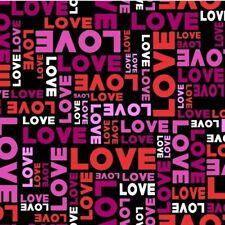 Valentine's Day Fabric - Big Love Pink & Red Word Patch Black - Studio E YARD