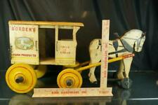 1930'S LARGE RICH TOYS BORDEN'S MILK & CREAM HORSE WOODEN CART LARGE PULL TOY