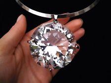 Huge Large Big Clear Gem Crystal Rhinestone Necklace Bib Pendant Choker Gold New