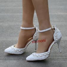 Grace Womens Ankle Strap Buckle Mary Jane Slim Heel Rhinestone Wedding Shoes Hot