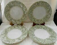 "Deruta Pottery for Williams-Sonoma Napa Sage 4 Dinner Plates 11 1/2"" Unused w1s7"