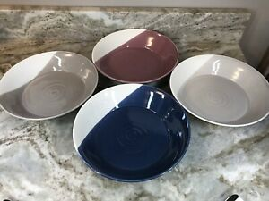 Large Pasta Bowls Of Plenty Royal Doulton Set Of 4 Blue, Purple, Light And Dark