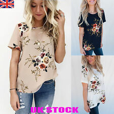 UK Womens Floral Loose Tops Ladies Summer Short Sleeve Shirts Blouses Tee 6-16