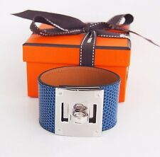 New Authentic HERMES Kelly Dog Shiny Lizard bracelet Blue Sapphire PHW Silver