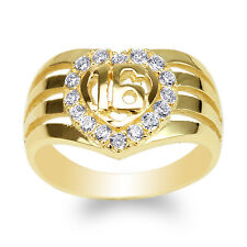 JamesJenny Ladies 10K Yellow Gold Stylish 16 Heart Ring with Round CZ Size 4-10