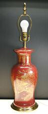 VINTAGE ASIAN ORIENTAL OXBLOOD PORCELAIN TABLE LAMP WITH GOLD GILD VILLAGE SCENE