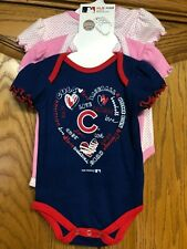 MLB Kids Chicago Cubs 3 Pack Bodysuit Set Girls Size 3-6 Month Brand New w/ Tags