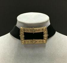 CHICO'S Choker Necklace Wide Black Velvet Rhinestone ORNATE Gold Buckle VV32K