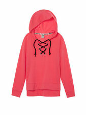 VICTORIAS SECRET PINK SLOUCHY LACE UP PULLOVER HOODIE NEON RED SIZE S NIP