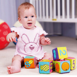6pcs Multifunctional Baby Cloth Building Blocks Rattle Soft Cubes Toys Gifts Kit