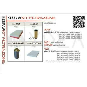 Kit Inspección Filtros Golf IV, Audi A3 I (8L1) 1.9TDI K135VW