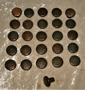 26 Vintage Copper Metal Round Antiqued Textured Knobs Cabinet Drawer Pulls