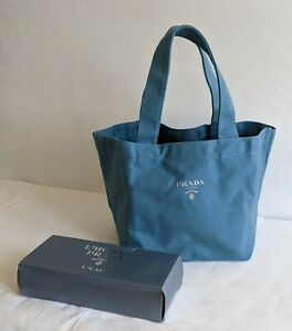 Prada L'Homme Parfums BLUE Tote Lunch Toiletry Bag w/ Box