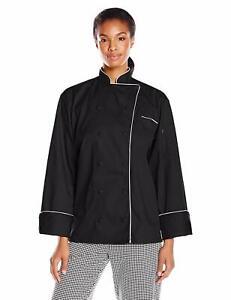 Uncommon Threads Women's Murano Executive Coat, Black/White Piping, 2XL
