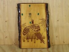 Hand Crafted Wood Slab Wall Clock Pheasant Scenery Malachite Face Markers