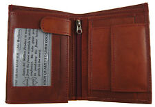 MENS European Cowhide Leather Hipster Trifold Wallet 3 ID,8 card Slots Burgundy